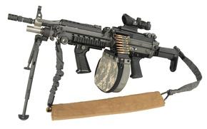Picture custom gun, circular charger, improved m249, bipod, high firepower, m249, sling, telescopic sights, ammo, gun …