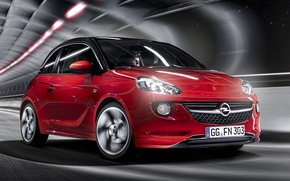 Picture red, background, Opel, Opel, Adam, Vauxhall, the front, Adam, hatchback, Vauxhall, Slam