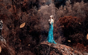 Picture leaves, girl, the wind, dress, Alessandro Di Cicco, Ray Of Light
