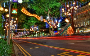 Picture decoration, trees, lights, street, new year, the evening, lights, Singapore, christmas