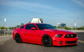 Picture mustang, red, wheels, ford, black