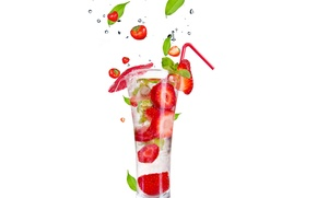 Picture ice, squirt, Cocktail, ice, leaves, leaves, fruits and berries on a white background, fruit and …