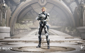 Picture Microsoft, gun, game, weapon, blonde, rifle, PlayStation 4, PS4, Epic Games, Paragon, PC, Belica, LT. …