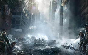 Picture The sky, Weapons, Fog, Light, Clouds, People, Respirator, Winter, The city, Tom Clancy's The Division, ...