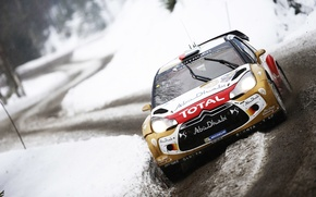 Picture Winter, Auto, Snow, Sport, Machine, Citroen, DS3, WRC, Rally, Rally, Cold, The front, Total
