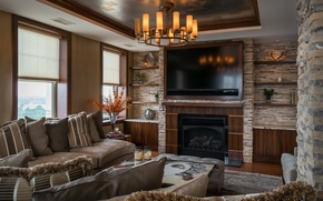 Wallpaper living room, sofa, chandelier, plasma, fireplace, design
