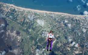 Picture sea, beach, clouds, river, camera, parachute, container, helmet, skydivers, extreme sports, parachuting, the freefly