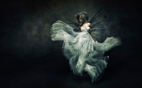Picture girl, dress, art, Flying bride
