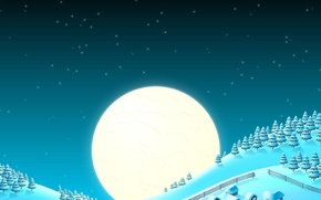 Picture snow, the moon, tree, new year