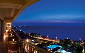 Picture sea, the city, lights, the evening, restaurant, terrace
