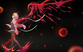 Wallpaper girl, weapons, blood, wings, sword, anime, art, glasses, into deep shit, kyoukai no kanata, mirai ...