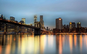 Picture the city, New York, skyscrapers, the evening, USA, Brooklyn bridge, NYC, New York City, Brooklyn …