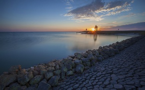Picture sunset, lake, stones, shore, lighthouse, Netherlands, Netherlands, the IJsselmeer, IJsselmeer lake