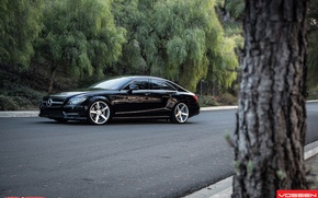 Picture black, auto, benz, tuning, wallpapers, amg, vossen, cls, mecedes, c219