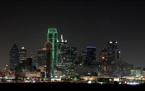 Wallpaper the city, lights, skyscrapers, night, Dallas