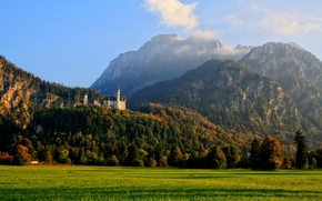 Picture forest, clouds, mountains, nature, photo, castle, Germany, Schwangau