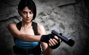 Picture look, girl, weapons, Resident Evil, cosplay, Jill Valentine