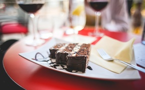 Picture chocolate, plate, cake, sweet