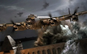Picture British four-engine heavy bomber, Dambuster, Operation Chastise, art, Avro Lancaster