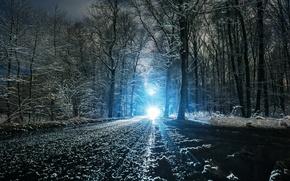 Picture winter, road, light, snow, landscape, nature