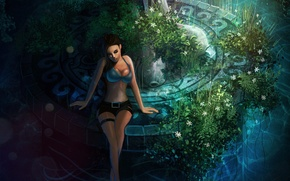 Picture chest, grass, girl, flowers, the game, shorts, fountain, sitting, Lara Croft, Tomb raider