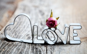 Picture love, letters, the inscription, heart, Board, rose, love, dried