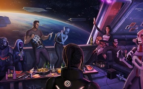 Wallpaper Joker, mass effect, mass effect, Shepard, Tali, Miranda, liara, party hard