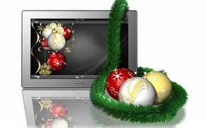Picture reflection, holiday, balls, white background, New year, tinsel, tablet, Christmas