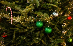 Picture New Year, tinsel, winter, tree, toys, New Year, Christmas, Christmas, branches, balls, spruce, holidays, Christmas, ...