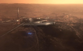 Picture light, ship, Mars, Mass Effect, station.