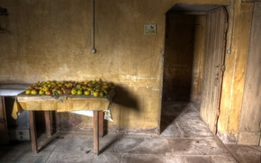 Picture table, apples, the door