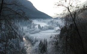Picture winter, snow, trees, mountains