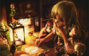 Picture letter, room, watch, books, doll, kettle, girl, lantern, sitting, art, Miyai Haruki