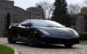 Picture the fence, black, gallardo, lamborghini, black, Lamborghini, Gallardo, the curb, Superleggera, paving slabs, lp570 superleggera