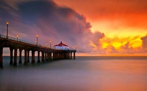 Picture lights, calm, beach. sea, sunset. pierce