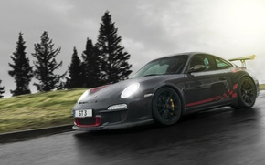 Picture drops, rain, black, 997, Porsche, supercar, Porsche, black, rain, GT3, race, racing