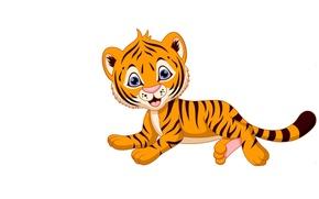 Picture tiger, background, baby, art, children's, the Tigrusha