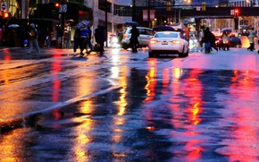 Picture the city, reflection, rain, street