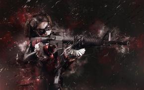 Wallpaper girl, weapons, Harley Quinn