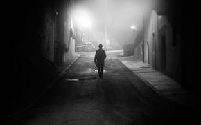 Picture street, fog, man, darkness