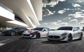 Picture the sky, clouds, coupe, maserati, gran turismo, Maserati, the front, Gran Turismo