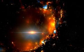 Picture flash, stars, meteorites, razryv