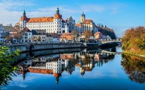 Picture bridge, river, castle, Germany, Bayern, Church, The Danube, Newburgh
