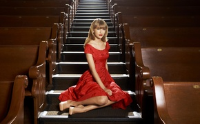 Picture dress, actress, photographer, ladder, steps, singer, hall, Taylor Swift, sitting, in red, Taylor Swift, Nigel …