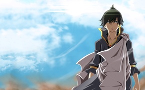 Picture the sky, anime, art, guy, Fairy Tail