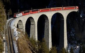Wallpaper red, bridge, viaduct, mountains, train, Switzerland, railroad