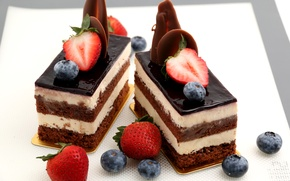 Picture chocolate, blueberries, strawberry, cake, dessert, sweet