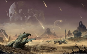 Picture planet, meteors, Halo, landing, game wallpapers, covenants, Halo 4 Champions Bundle