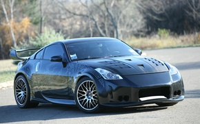 Wallpaper Black, Road, Pattern, Nissan 350z