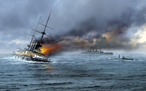 Picture sea, wave, fire, flame, smoke, figure, Navy, drowning, Japanese, battleship, The Russo-Japanese war, 'Hatsuse'